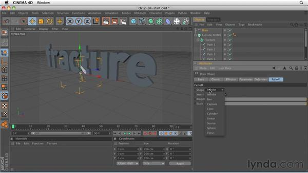 Creating animation with the Fracture object: CINEMA 4D R12 Essential Training