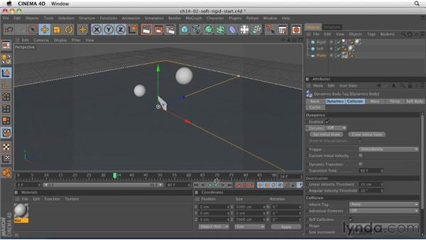 Exploring the difference between soft bodies and rigid bodies: CINEMA 4D R12 Essential Training