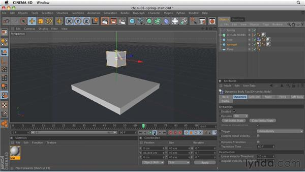 Creating bouncing motion with springs: CINEMA 4D R12 Essential Training