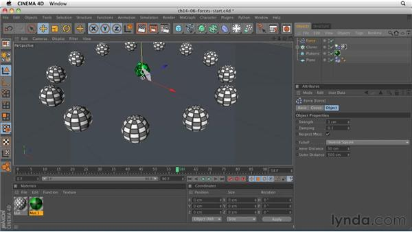 Attracting objects with forces: CINEMA 4D R12 Essential Training