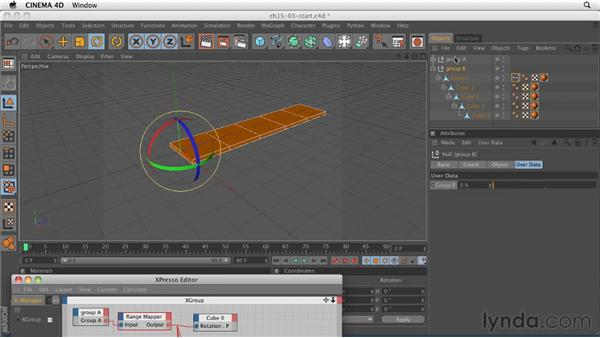 Controlling parameters with the Range Mapper node: CINEMA 4D R12 Essential Training