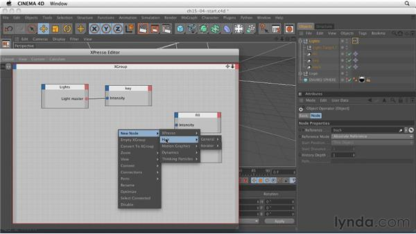 Controlling multiple lights with a single slider: CINEMA 4D R12 Essential Training