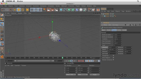 Creating particles with the Emitter object: CINEMA 4D R12 Essential Training