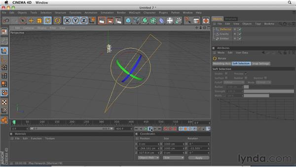 Controlling particles with basic forces: CINEMA 4D R12 Essential Training