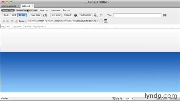Styling module output: Getting Started with Dreamweaver CS5 and Business Catalyst