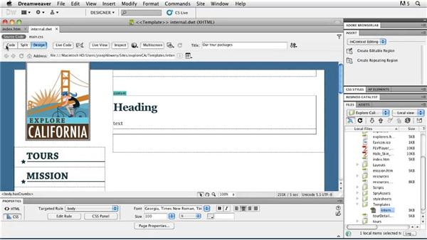 Integrating templates: Getting Started with Dreamweaver CS5 and Business Catalyst