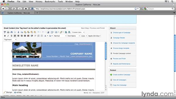 Setting up an email campaign: Getting Started with Dreamweaver CS5 and Business Catalyst