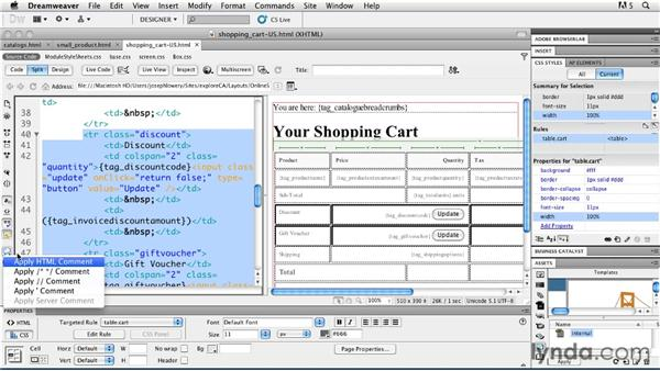 Defining the checkout experience: Getting Started with Dreamweaver CS5 and Business Catalyst
