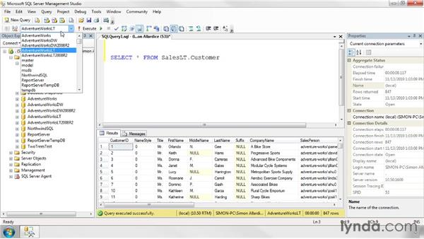 Using SELECT statements: SQL Server 2008 Essential Training