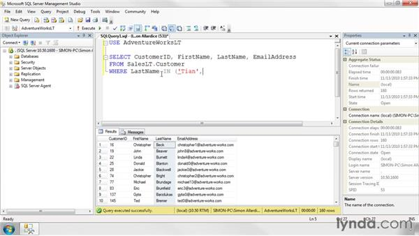 Creating conditions in SQL: SQL Server 2008 Essential Training