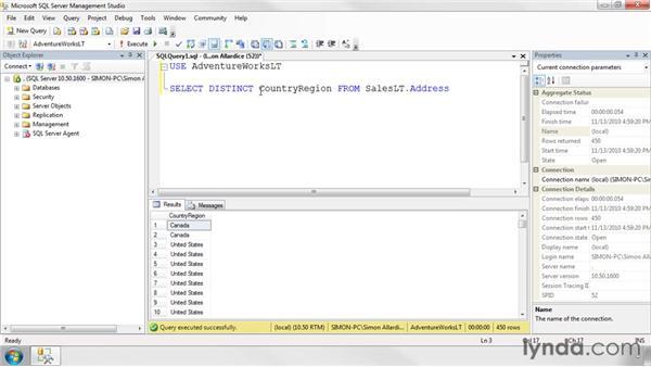 Finding unique values: SQL Server 2008 Essential Training