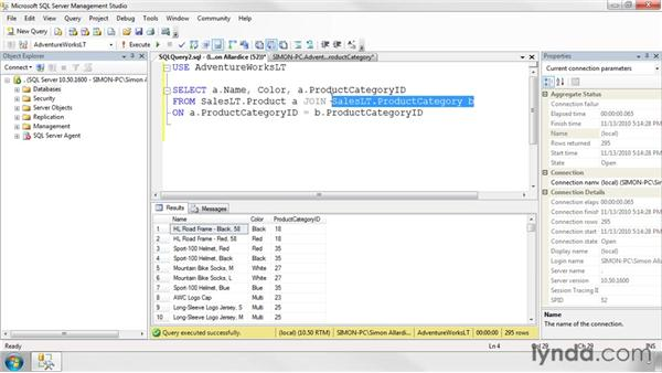 Joining multiple tables together: SQL Server 2008 Essential Training