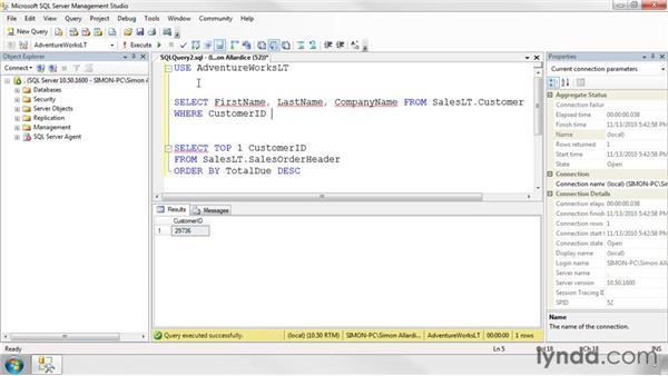Using subqueries: SQL Server 2008 Essential Training