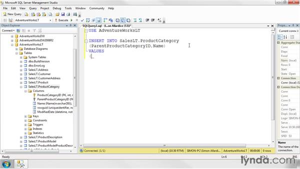 Writing INSERT statements: SQL Server 2008 Essential Training