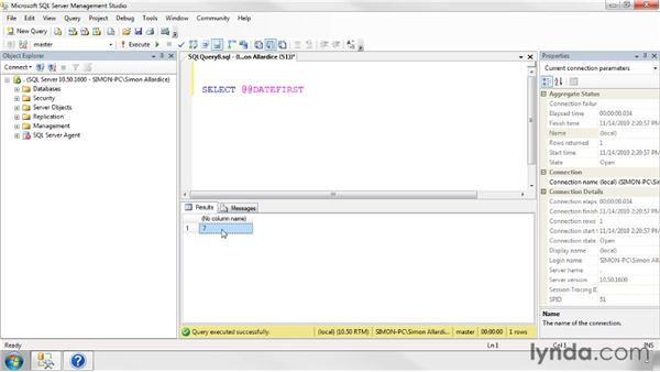 Using date functions: SQL Server 2008 Essential Training