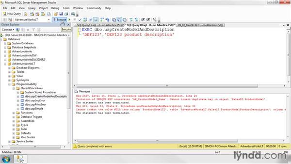 Creating transactions: SQL Server 2008 Essential Training