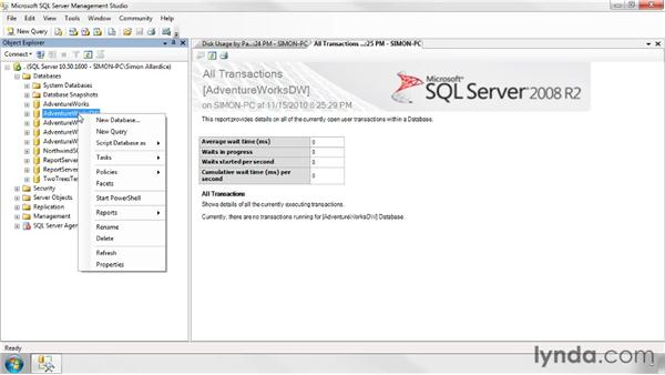 Monitoring database size and integrity: SQL Server 2008 Essential Training