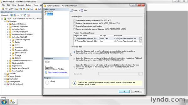 Restoring databases: SQL Server 2008 Essential Training
