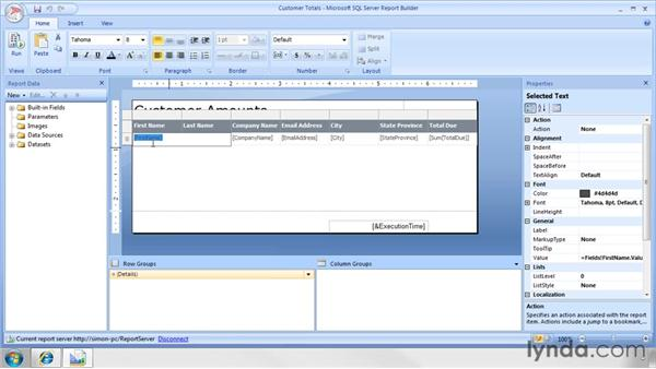 Formatting values in reports: SQL Server 2008 Essential Training