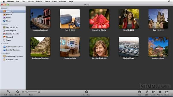 Working in Full Screen view: iPhoto '11 Essential Training
