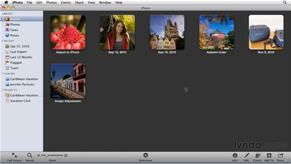 Importing the exercise files and organizing by Event: iPhoto '11 Essential Training