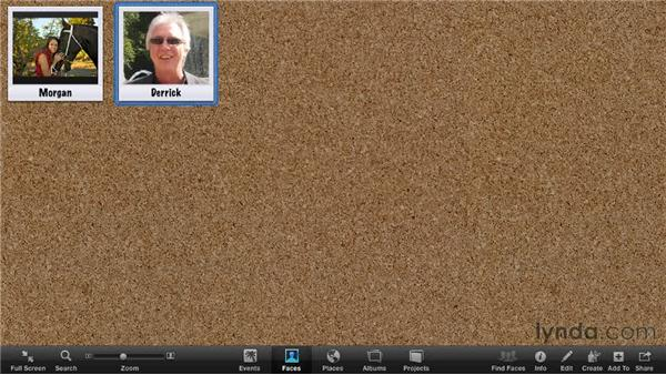 Managing the Faces corkboard: iPhoto '11 Essential Training