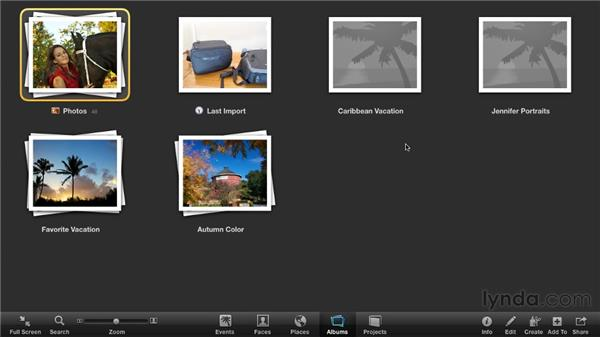 Viewing albums in Full Screen mode: iPhoto '11 Essential Training