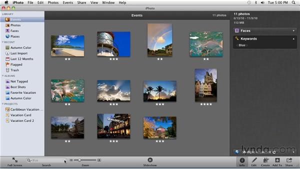Finding photos by keyword: iPhoto '11 Essential Training
