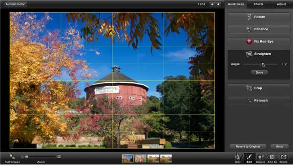 Straightening photos: iPhoto '11 Essential Training