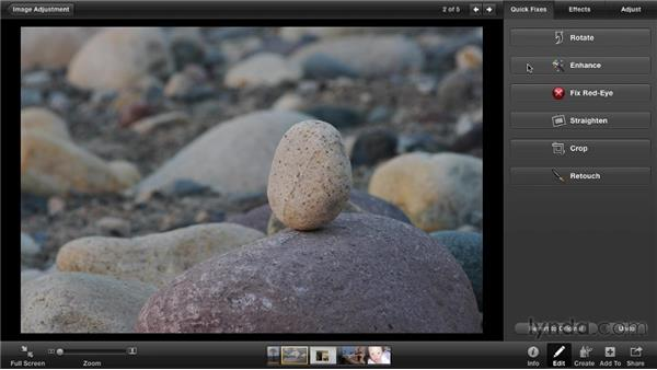 Making automatic corrections with Enhance: iPhoto '11 Essential Training