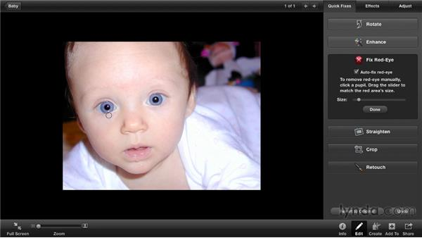 Removing red-eye: iPhoto '11 Essential Training