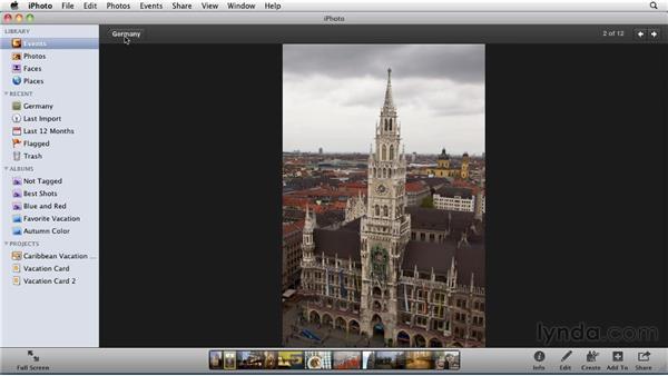 Rotating photos: iPhoto '11 Essential Training