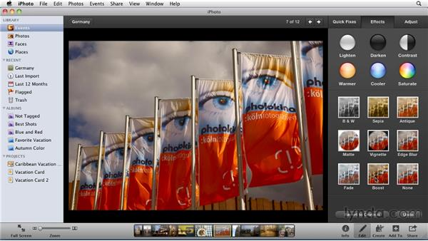 Using the Effects palette: iPhoto '11 Essential Training