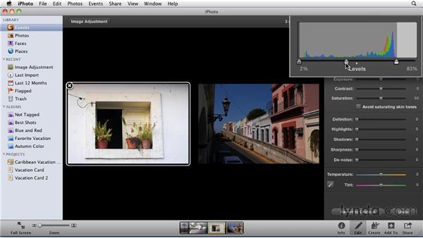 Adjusting levels: iPhoto '11 Essential Training