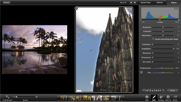 Adjusting highlights and shadows: iPhoto '11 Essential Training