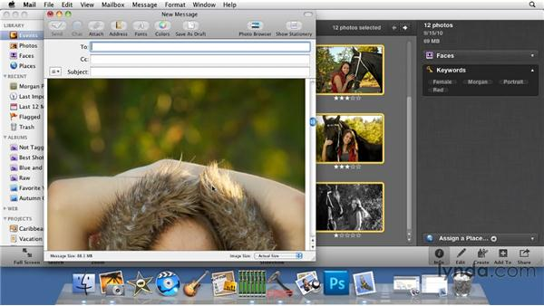 Emailing photos the old-fashioned way: iPhoto '11 Essential Training