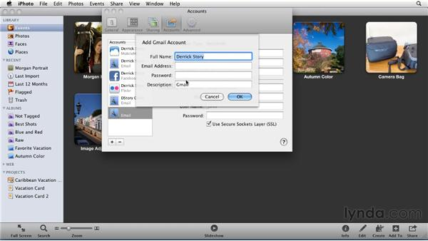 Setting up your email account in iPhoto: iPhoto '11 Essential Training