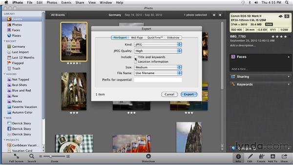 Exporting photos: iPhoto '11 Essential Training