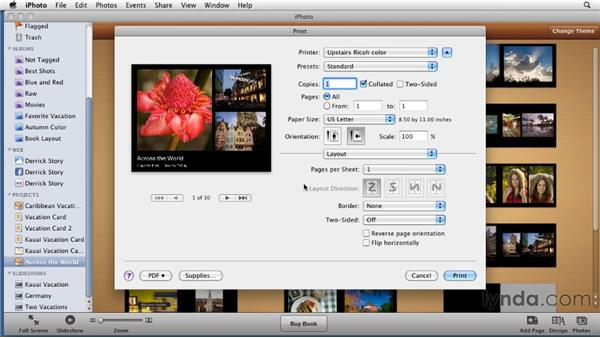 Selecting output options for your photo book: iPhoto '11 Essential Training