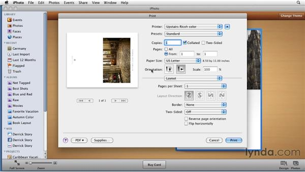 Setting output options for your greeting cards: iPhoto '11 Essential Training