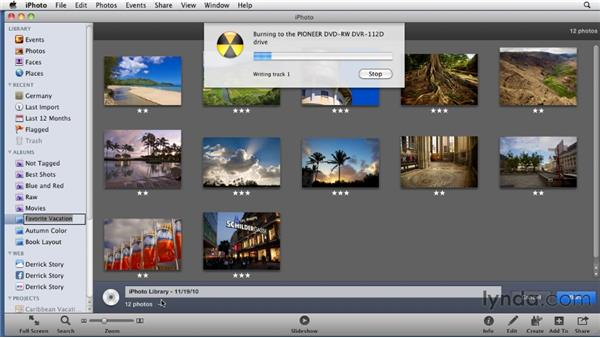 Burning a backup CD or DVD: iPhoto '11 Essential Training