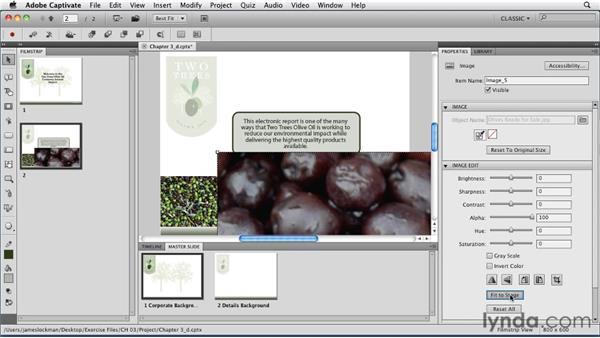 Adding images: Captivate 5 Essential Training