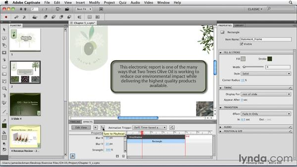 Animating using effects: Captivate 5 Essential Training