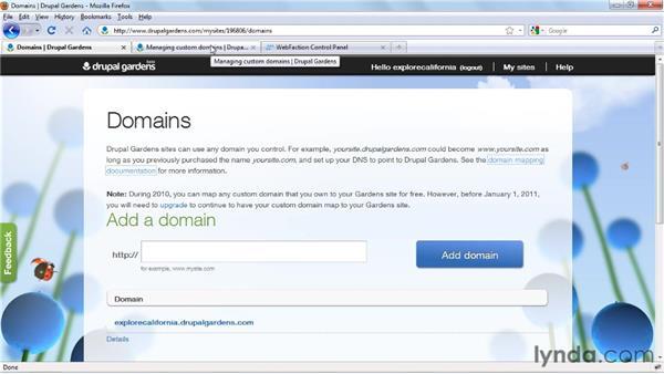 Adding custom domains: Drupal Gardens Essential Training