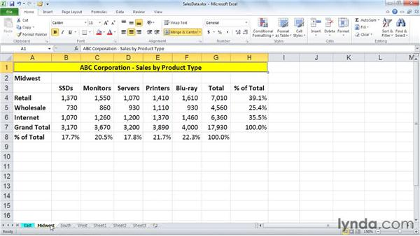 Changing tab colors and renaming sheets: Excel 2010: Managing Multiple Worksheets and Workbooks