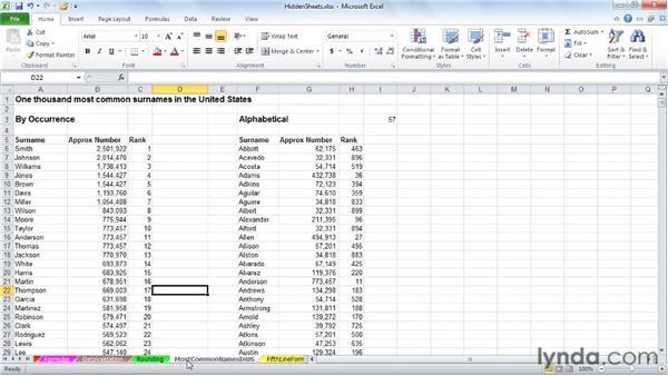 Using the Hide function on worksheet tabs: Excel 2010: Managing Multiple Worksheets and Workbooks