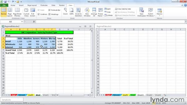Copying, moving, and inserting data on different sheets: Excel 2010: Managing Multiple Worksheets and Workbooks