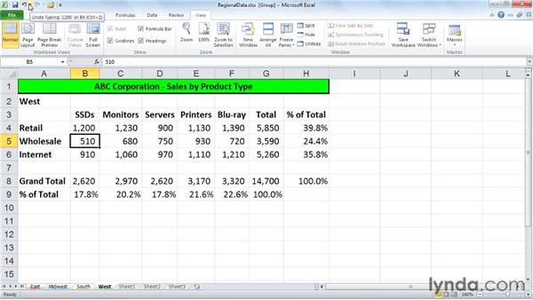 Applying global changes to worksheets: Excel 2010: Managing Multiple Worksheets and Workbooks