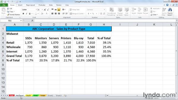 Creating linkage formulas: Excel 2010: Managing Multiple Worksheets and Workbooks