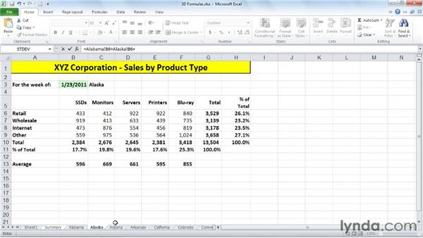 Creating 3D formulas for worksheets with identical layouts: Excel 2010: Managing Multiple Worksheets and Workbooks
